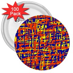 Orange, blue and yellow pattern 3  Buttons (100 pack)