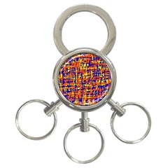 Orange, blue and yellow pattern 3-Ring Key Chains