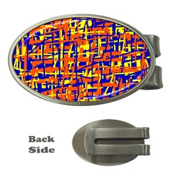 Orange, blue and yellow pattern Money Clips (Oval)