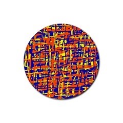 Orange, blue and yellow pattern Rubber Coaster (Round)