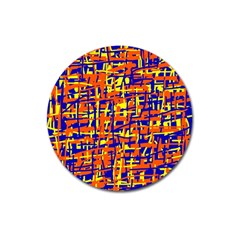 Orange, blue and yellow pattern Magnet 3  (Round)