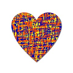 Orange, blue and yellow pattern Heart Magnet