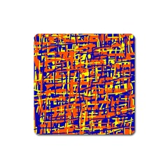 Orange, blue and yellow pattern Square Magnet