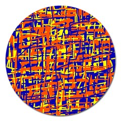 Orange, blue and yellow pattern Magnet 5  (Round)