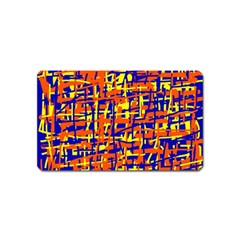 Orange, blue and yellow pattern Magnet (Name Card)
