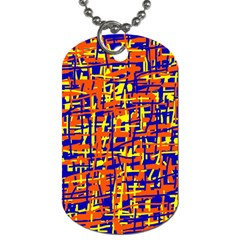 Orange, blue and yellow pattern Dog Tag (One Side)