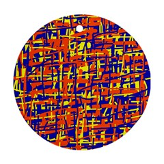 Orange, blue and yellow pattern Round Ornament (Two Sides)