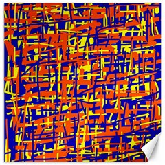 Orange, blue and yellow pattern Canvas 20  x 20