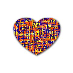 Orange, blue and yellow pattern Rubber Coaster (Heart)