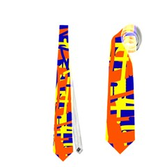Orange, blue and yellow pattern Neckties (Two Side)