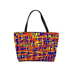 Orange, blue and yellow pattern Shoulder Handbags