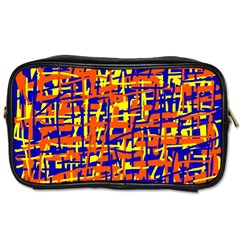 Orange, blue and yellow pattern Toiletries Bags