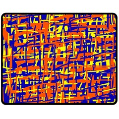 Orange, blue and yellow pattern Fleece Blanket (Medium)