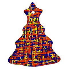 Orange, blue and yellow pattern Christmas Tree Ornament (2 Sides)