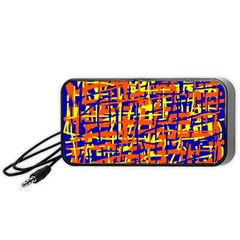 Orange, blue and yellow pattern Portable Speaker (Black)