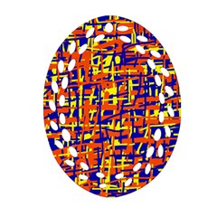 Orange, blue and yellow pattern Oval Filigree Ornament (2-Side)