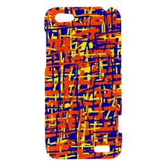 Orange, blue and yellow pattern HTC One V Hardshell Case