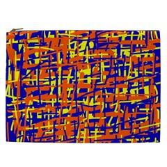 Orange, blue and yellow pattern Cosmetic Bag (XXL)