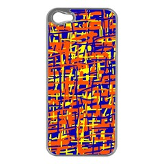 Orange, blue and yellow pattern Apple iPhone 5 Case (Silver)
