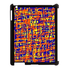 Orange, blue and yellow pattern Apple iPad 3/4 Case (Black)