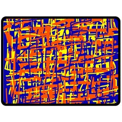 Orange, blue and yellow pattern Double Sided Fleece Blanket (Large)