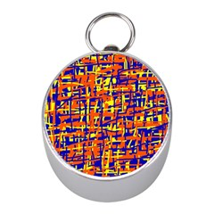 Orange, blue and yellow pattern Mini Silver Compasses