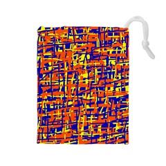 Orange, blue and yellow pattern Drawstring Pouches (Large)