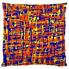 Orange, blue and yellow pattern Large Flano Cushion Case (One Side)
