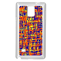 Orange, blue and yellow pattern Samsung Galaxy Note 4 Case (White)
