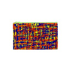 Orange, blue and yellow pattern Cosmetic Bag (XS)