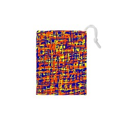 Orange, blue and yellow pattern Drawstring Pouches (XS)
