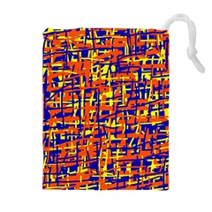 Orange, blue and yellow pattern Drawstring Pouches (Extra Large)