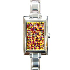 Red, yellow and blue pattern Rectangle Italian Charm Watch