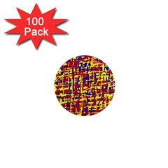Red, yellow and blue pattern 1  Mini Magnets (100 pack)