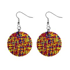 Red, yellow and blue pattern Mini Button Earrings