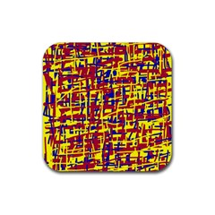 Red, yellow and blue pattern Rubber Coaster (Square)