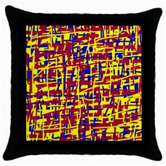 Red, yellow and blue pattern Throw Pillow Case (Black)