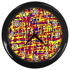 Red, yellow and blue pattern Wall Clocks (Black)