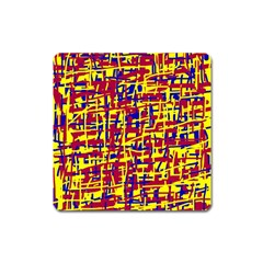 Red, yellow and blue pattern Square Magnet