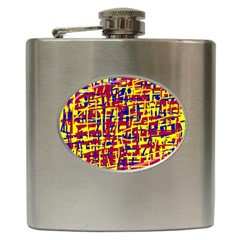 Red, yellow and blue pattern Hip Flask (6 oz)