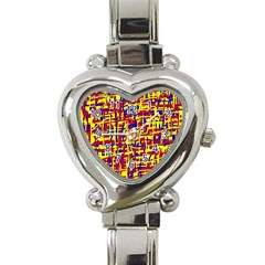 Red, yellow and blue pattern Heart Italian Charm Watch