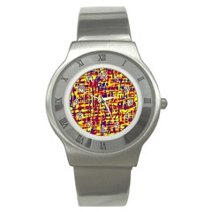Red, yellow and blue pattern Stainless Steel Watch