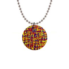 Red, yellow and blue pattern Button Necklaces