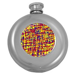 Red, yellow and blue pattern Round Hip Flask (5 oz)