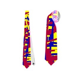 Red, yellow and blue pattern Neckties (One Side)
