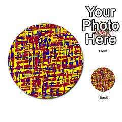 Red, yellow and blue pattern Multi-purpose Cards (Round)