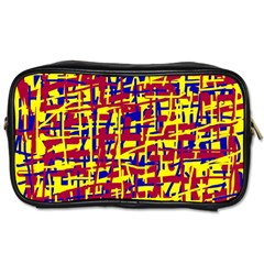 Red, yellow and blue pattern Toiletries Bags
