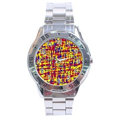 Red, yellow and blue pattern Stainless Steel Analogue Watch