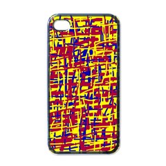 Red, yellow and blue pattern Apple iPhone 4 Case (Black)