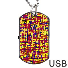 Red, yellow and blue pattern Dog Tag USB Flash (One Side)